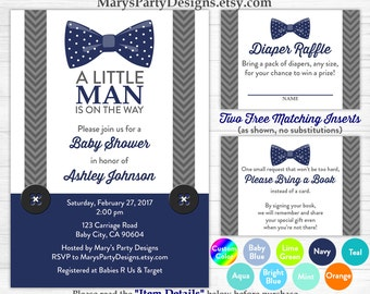 Little Man Baby Shower Invitation - Bow Tie Boy Navy Blue Gray Onesie Free Diaper Raffle Ticket Book Request Card Personalized Printable