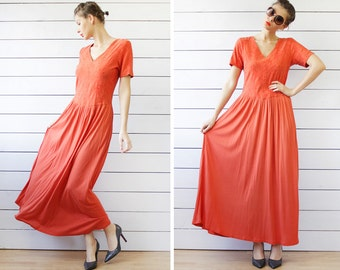 Vintage orange cotton viscose jersey long summer beach maxi dress L