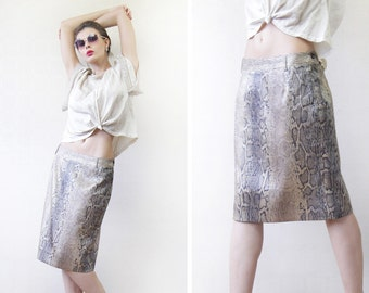 MARC CAIN vintage brown beige snakeskin print pencil midi skirt S