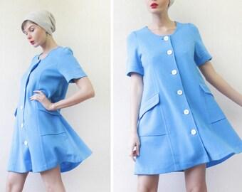70s Vintage sky blue simple A line short sleeve shirt mini dress M