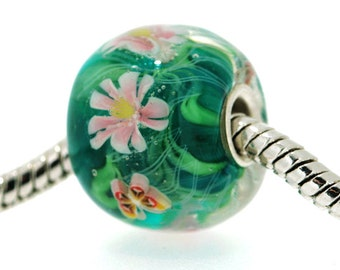 "Big Lampwork glass bead European Charm Focal bead pink ""Blooming"" Sterling silver core big hole 10 By Shirley"