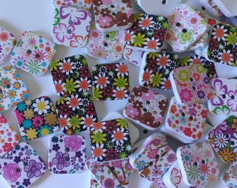 50pcs Assorted Flower Buttons,Wooden Buttons,Diy Buttons, 2 Hole Buttons,Square Buttons,Carft Buttons,Decorative Mix Buttons, 25mm