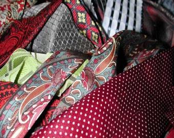 No. 400 . . . 40+ Silk Jacquard and Screen Print Ties for Crazy Quilts (Predominantly Paisleys)