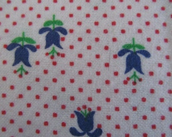 """Flannel fabric White with tiny red dots and blue tulips, green leaves, 2 yds.6"""""""