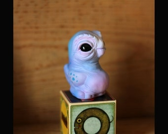 Owlguin , resin cast figure , Blue - pink ( winter )colorway