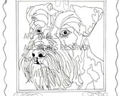 Handsome Schnauzer - Love Dogs - Digital Download - Coloring Books for Adults - Coloring Page
