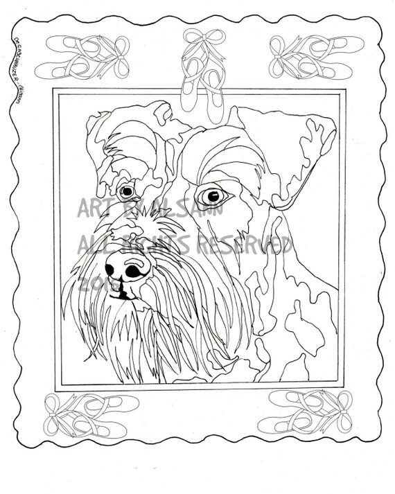 Handsome Schnauzer Love Dogs Digital Download Coloring