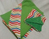 Flannel Baby Blanket with Flannel/Minky Lovie Mini Blankie Set - Green with Colored Chevron