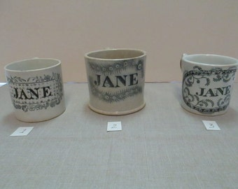 3 Antique childrens Christening name cups