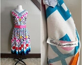 RESERVED/ Life in Technicolor 1960s White/Bright Blue/Navy/Red/Pink/Hot Pink/Yellow/Orange/Green Polka Dot Dress with Hot Pink Belt AS IS