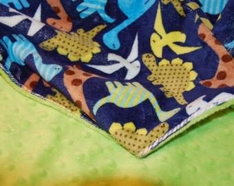"Navy Dinosaur Minky Blanket - 29"" x 35"" Size - Double Minky Blanket"
