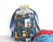 Crochet Project Bag, Knitting Bag Orange Cats Drawstring Bag, Knitting Tote Bag Sweater Project
