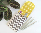Notions Case, Knitting Needle Pouch, Crochet Hooks Case, Storage DPNs Organizer Grey Chevron