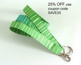 Fabric Lanyard Key Holder, ID Badge Lanyard Turquoise Aqua Green Stripe Nurse or Teacher Lanyard for Back to School
