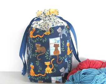 Crochet Project Bag, Knitting Bag Orange Cats Drawstring Bag, Knitting Tote Bag 2 pockets, Sweater Project