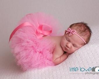 TAFFY PINK TUTU Set, Pink Tutu and Headband, Newborn Tutu, Baby Tutu, Pink Tutu, Newborn Photo Prop, Photo Prop, Tutus for Children