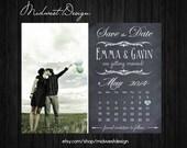 Save The Date Magnet, Card or Postcard . Chalkboard Calendar