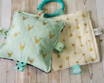 Baby girl toys, crinkle sound toys, set of two, buck forest in mint and golds, arrows, antlers, deer heads, babies love these
