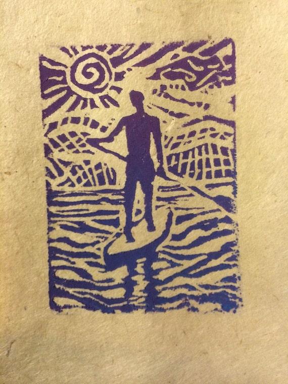 On Board linocut art card 3 x 5