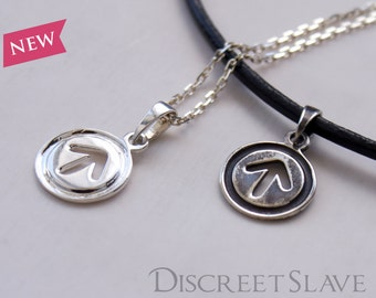 Sterling silver Male slave pendant. For slaves, submissives and owned persons in a BDSM relationship.