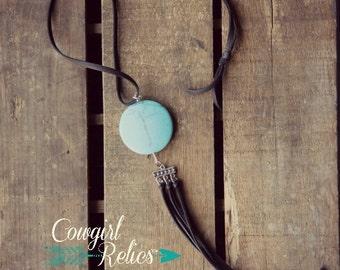 Gypsy Moon Turquoise and Fringe Western Boho Necklace