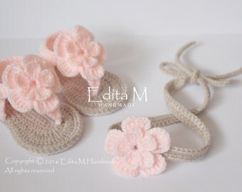 Crochet baby set, sandals headband set, gladiator sandals, tieback, baby booties, baby shoes, baby shower gift, gift for baby, summer wear