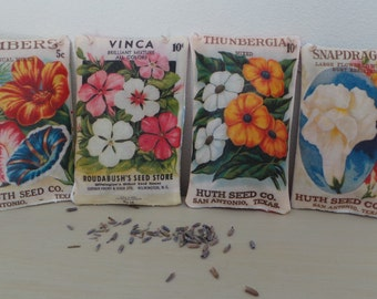 Hand printed vintage flower seed packet pillows filled with lavender, gardening, fabric seed packets, gardening gift, dahlia, foxglove