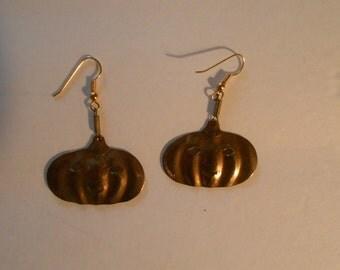 vintage brass color jack o lantern earrings
