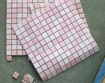 "Vintage FRENCH Estate Old Style LIMESTONE Look Unglazed Ceramic Tiles Pinks 1"" Squares, FULL Sheet w/ Sticker, New & Never Used"
