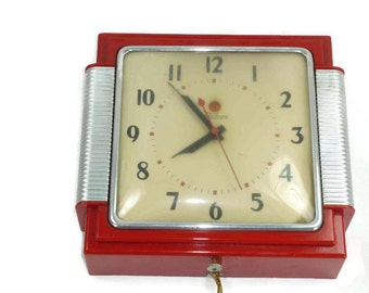 Red Telechron 2H43 Wall Clock Vintage Electric