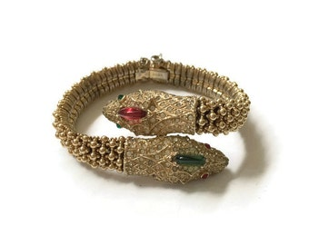 Vintage Ciner Jewelled Double-Headed Snake Bracelet