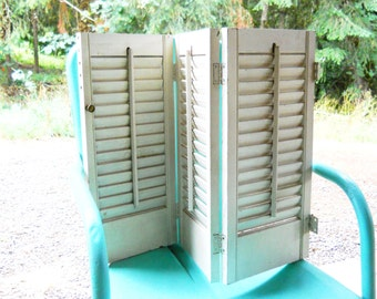 3 Door Panel Shutters 1940s White Wooden Shabby Chic French Country Cottage English Architectural Salvage Repurpose Farmhouse Garden