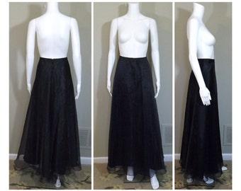 ALEX EVENINGS Sheer Black Organza Long Length Full Skirt US Size 14