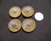 Set of 4 Vintage Thick Older Plastic Coat Buttons Big Buttons Goldish Olive Color