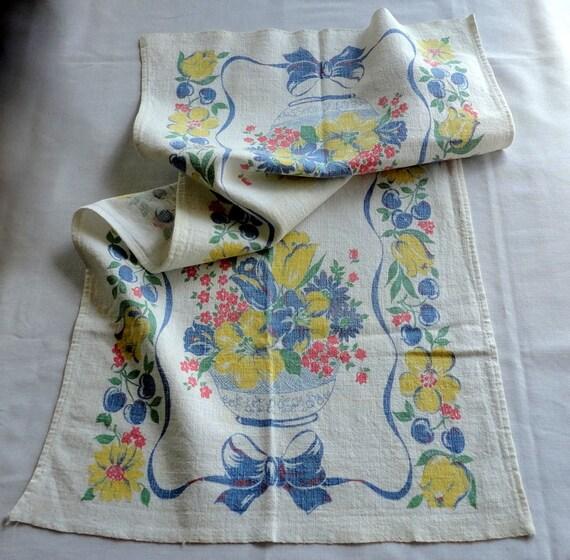 Tea Towels Printed For Schools: Vintage 14 X 29 Floral Print Tea Towel Kitchen