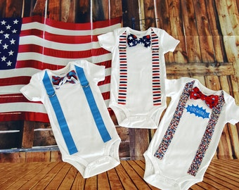 Fourth of July Baby Boy Tie and Suspender Bodysuit, Independence day,  Summer, Patriotic, Red, White, Blue, Fireworks, coming home, stars