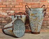 Olive Bucket - Extra Large - Olive Basket - Great Quality - Metal Basket - Rusted Bucket - Planter