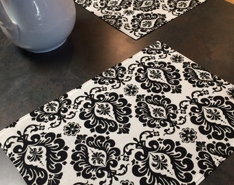 Black and White Damask Placemats - Set of 4
