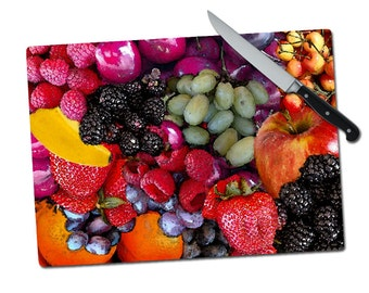 """Large Fruit Berries Grapes Tempered Glass Cutting Board 