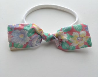 floral knotted bow • baby girl headband • nylon headband • pink yellow and purple flower headband
