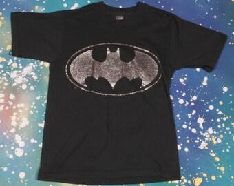 Sparkly BATMAN Logo Cartoon T-Shirt Size M