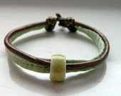 Brass Leather Pale Green Strap Lime Green Ceramic Bead Bracelet - Inspired by Black Sails