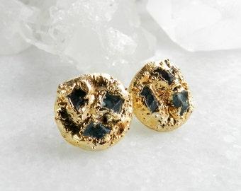 20% OFF SALE apatite earrings, raw apatite, apatite stud earrings, apatite studs, gold earrings, gold studs, gold stud earrings, raw apatite