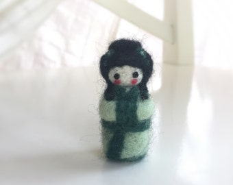 Green Needle felted geisha girl green hand felted merino wool miniature collectable handmade felted