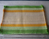 Vintage Woven Placemats, Set of 6, Green and Mustard Stripes, Retro Table Decor