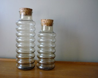 Set of 2 Vintage Libbey's 'Beehive' Glass Jar with Cork Lid, Smoked Glass Storage Jars