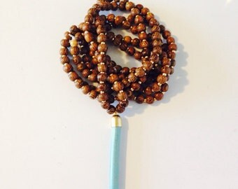 Wood and Turquoise Spike Necklace