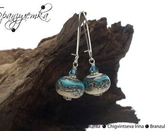 Breeze - earring marine lampwork bead blue sand sea water