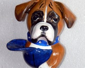 Boxer pup-in-a-Cap Gourd Ornament