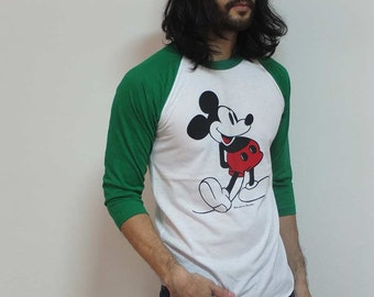 Mickey Green Sleeves Retro Baseball T-Shirt M